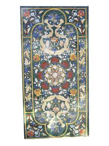 4'x2' Green Marble Dining Table Lapis Pietradura Inlay Mosaic home decor