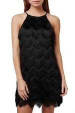 STUNNING! Women's TOP SHOP Black Fringe Petite Slip Dress Size UK 8
