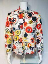 Vintage Ted Lapidus Paris Men Sz M 39-40 Dress Shirt Multi Colour Couture Print