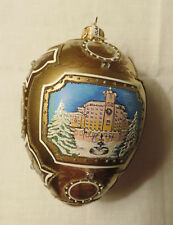 Large hand painted glass Christmas egg ornament from Poland - Building w/trees