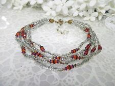Glittering Miriam Haskell 5 Strand Seed Bead & Crystal Necklace