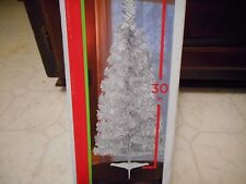 """30"""" Silver Christmas Tree W/ Base Tinsel Tabletop New"""