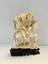 New listing Vintage Chinese hand carved Man & Horse, on wood carved pedestal.