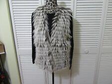 Dor Dor Faux Fur Vest,Top, L, NWT,White,gray faux fur, lined