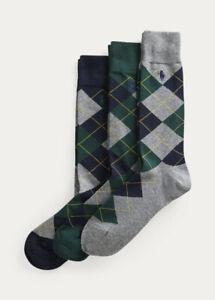 Ralph Lauren Antimicrobial Dress Argyle Crew 3 Pack Socks -Green- Shoe Sz 6-12.5