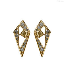 Natural Diamond Pave Solid 18k Yellow Gold Stud Earrings Designer Fine Jewelry