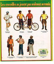 PUBLICITE ADVERTISING 054  1973  LACOSTE    VETEMENTS DE SPORT