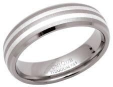 NUOVO 6mm titanio e argento WEDDING BAND Corte Anello Gioielli taglie I-Z +2