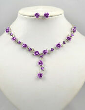 SILVER TONE METAL LILAC ROSE & CRYSTAL NECKLACE SET