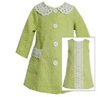 Bonnie Jean Girls Lime Green Jacquard Spring Easter 2-Piece Dress & Coat Size 6