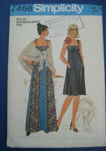 Vintage Uncut 1970s sewing pattern Sun & Evening dress & Shawl Modern Size 8