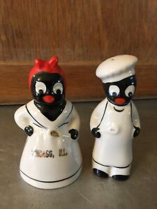 Vintage Black White Americana Collectible Salt Pepper Set