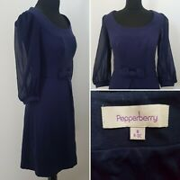 Ladies PEPPERBERRY Navy Blue Dress Sz 8 Really Super Curvy Smart Career