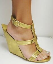 YSL YVES SAINT LAURENT GOLD WEDGE SANDALS SHOES NEW IN BOX 41