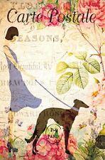 Postcard French Vintage Shabby Chic Style Lady Fashion Dress Dog Floral 87J