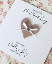 Personalised Wedding Day Card handmade Rose Gold Heart