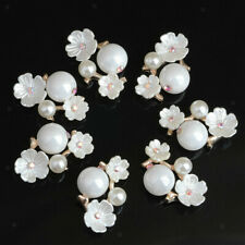 10pcs Flower Crystal Pearl Flatback Buttons Embellishment Jewelry Findings