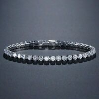 solid 925 sterling silver 4mm 18cm CZ tennis bracelet bangle for women wedding