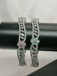 Pakistani 2 Silver Bangles With American Diamond  In White Pink And Green 2.4