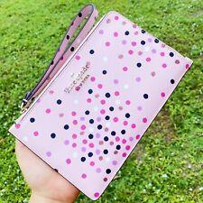 Kate Spade Staci Medium L-Zip Wristlet Festive Confetti Pink Glitter Polka Dots