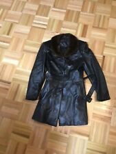 MUIE WOMENS BLACK LEATHER 3/4 COAT JACKET WITH MINK COLLAR SIZE S