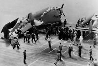 WWII photo Broken deck aircraft on the deck of the American escort carrier B 65#