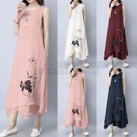 Mode Femme Loose Sans Manche O-Cou Floral Asymétrique Robe Dresse Long Maxi Plus