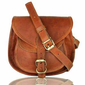 Vintage Genuine Brown Leather Messenger Shoulder Cross Body Bag Handmade purse