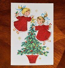 Vintage UNUSED Christmas Card RED FLOCKED ANGELS DECORATING TREE Mid-Century