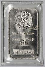 Liberty Walking Motif Highland Mint .999 Fine Silver Art Bar 1 Troy oz ~ Sealed