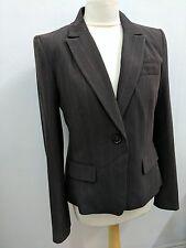 Banana Republic Ladies Brown Striped 1 Button Summer Blazer Jacket Uk 14