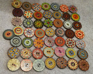 50, 25mm Wood Buttons ~ GORGEOUS ROUND Designs & Colors ~ Sewing Crafts USA SHIP