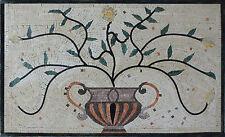 Greek Calm Touch Fever Vine Flower Leaf Pot Marble Mosaic Fl751