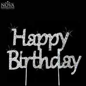 Crystal Rhinestone Silver Happy Birthday & Monogram Anniversary Cake Topper