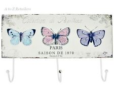 Shabby Chic Butterfly Metal 3 Wall Mounted  Coat Hooks Hangers Home Decor Gift