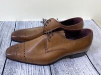 NEXT signature mens tan brown genuine leather lace up brogue shoes size 10 £85