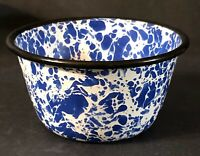 Blue White Splatter Marbled Graniteware Enamelware Custard Cup Black Rim