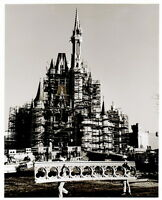 Vintage DISNEY WORLD CONSTRUCTION 8x10 PHOTO, CINDERELLA CASTLE RAILING CONSTRUC