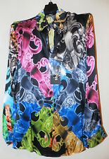 VERSUS VERSACE LOGO MULTI PRINT SILK SHIRT Sz. 38IT / 2US