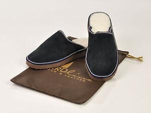 Blue mens fur sheepskin mule slippers. Suede leather and merinos wool.