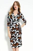 DIANE VON FURSTENBERG Women's Size 4 Black Ember' Faux Wrap Silk V-neck Dress