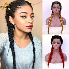 Aiva Hair Heat Resistant Red Blonde Synthetic Lace Front Wig Black Box Braid Wig
