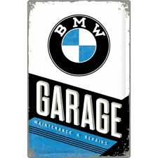XL Retro Tin Metal Embossed Sign BMW GARAGE Logo Design 60x40cm Rustic Licensed