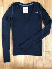 NWOT Hollister by Abercrombie & Fitch Navy Blue Knit Sweater with Logo Size M