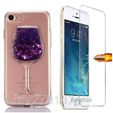 Glass Screen Protector film + Bling Quicksand goblet Soft  Phone Cover Case I