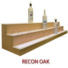 "24"" 3 Tier LED Lighted  Liquor Display Shelf - Oak Finish"