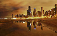 CHICAGO SKYLINE NEW A2 CANVAS GICLEE ART PRINT POSTER