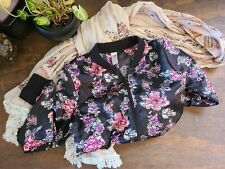 Girls Justice Long Sleeve Cropped Floral Zip Jacket ~ Size 14
