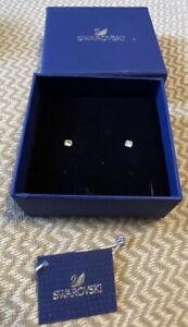 Swarovski Pierced Earrings Stud Silver Tone With Box!!!!!