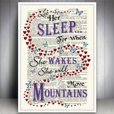 BABY GIRL ROOM SLEEP DREAM QUOTE ART PRINT DICTIONARY STYLE PAGE WALL POSTER